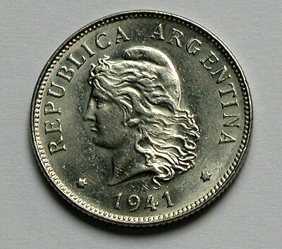 1941 ARGENTINA Coin - 50 Centavos - AU+ lustre - contact marks - 24.5mm