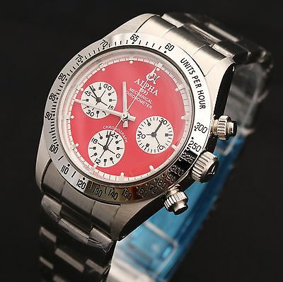 Alpha Mechanical chronograph SG2903 Watch Red Dial And Glass Display Back