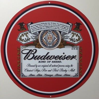 Budweiser 12 Inch Round Classic Beer Sign