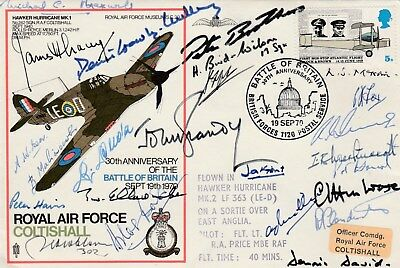 RAF Coltishall Battle of Britain cover signed 26 inc Bader, Lacey, Puda, Dutton