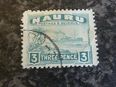 Nauru Postage Revenue Stamp Sg31B Greenish Grey Fine Used