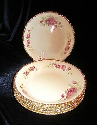 Woods Ivory Ware Soup Bowls - Set of 6 - Pink Flowers - 7.5 in -England- WOO130