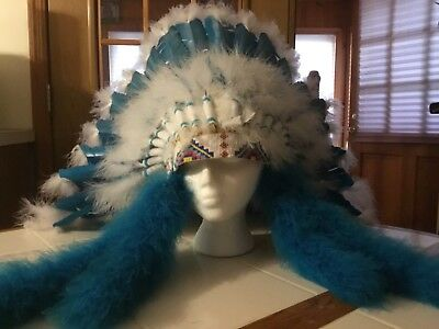 Hand Made Indian Head Dress. Adjustable From Child To Adult.