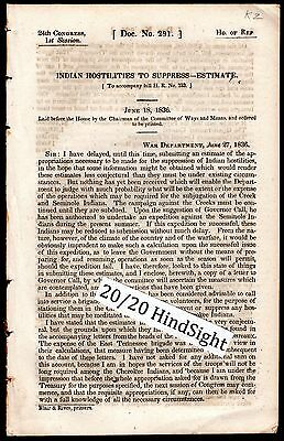 1836 REPORT of CHEROKEE- CREEK - SEMINOLE INDIAN HOSTILITIES ~ TRAIL OF TEARS