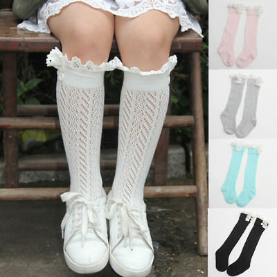 GIRLS KIDS SOCKS TIGHTS SCHOOL HIGH KNEE GRIDDING Lace DANCE STOCKINGS STRICT