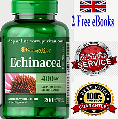 Echinacea STRONG Healthy Immune System BOOST Rapid  200 Tablets Capsules 400 mg