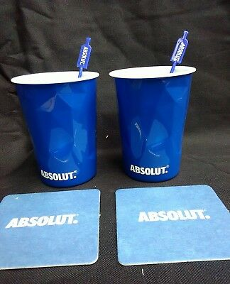 Absolut Vodka Ice Themed Plastic Reusable Cups With 2 Stirrers And Mats New