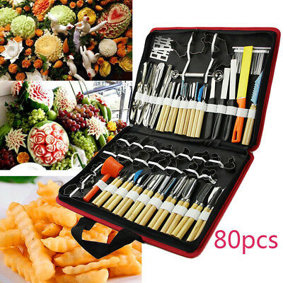 80pcs Pumpkin Halloween Portable Vegetable Food Carving Engrave Tool Chisel UK