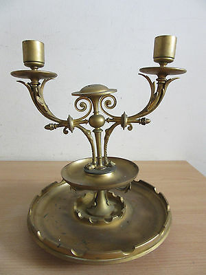 Antique French? gold gilded metal candlestick candleabra w/ paw feet large base
