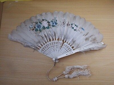 Vintage Feather Hand Fan Painted With Flowers And Birds