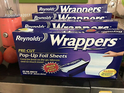 Holiday Help! Reynolds Wrappers Aluminum Foil 25 Pre-Cut Pop Up Foil Sheets 4 Pk