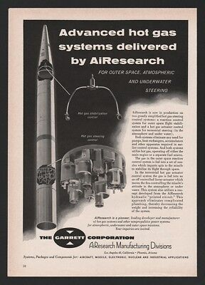 1960 Garrett AiResearch Rocket Missile Cutaway View Steering Control Ad