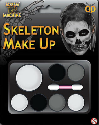 Adults Kids Halloween Scary Make Up Skeleton Face Paint Kit Applicator Paints