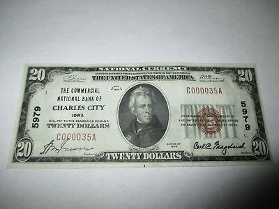 $20 1929 Charles City Iowa IA National Currency Bank Note Bill #5979 XF+!