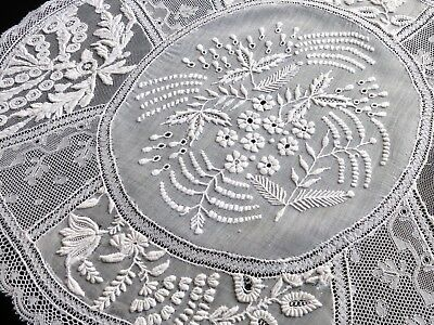 FINE & LOVELY Antique FRENCH NORMANDY LACE Doily Centerpiece White Oval 13x17""