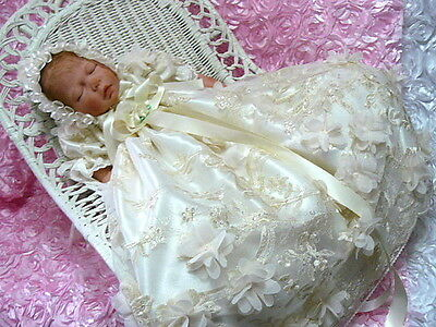 Gown Champagne Ivory Tulle 3D Floral Embroidered Newborn  Or 0 To 3 Month Size