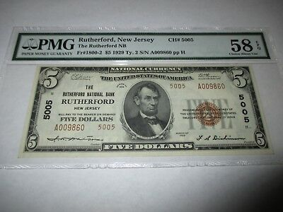 $5 1929 Rutherford New Jersey NJ National Currency Bank Note Bill #5005 AU58!