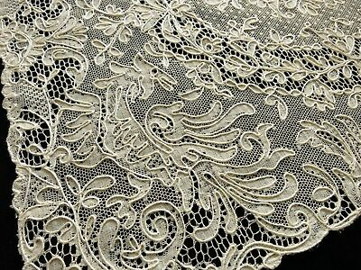 GORGEOUS Antique Set 8 FRENCH ALENCON LACE Placemats BIRDS with LAVISH PLUMAGE