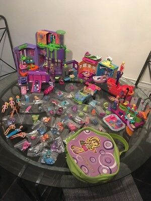 Polly Pocket Clothes Accessories Car Dolls Ship Cafe Etc Large Bundle Collection