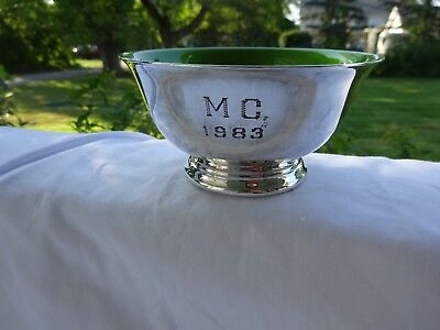 Reed & Barton Silverplate Green Enameled Trophy Cup  Monogram ~ MC 1983