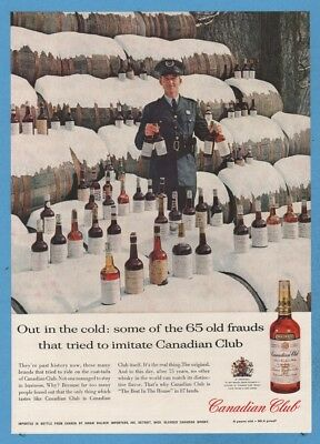 1960  Canadian Club Whisky Out in the cold 65 old frauds vintage photo ad