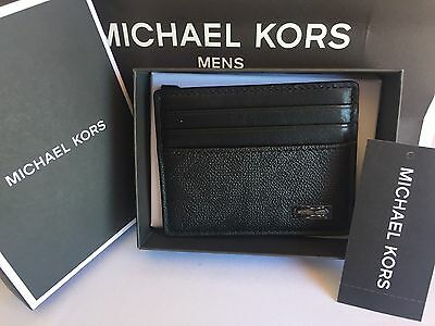 Michael Kors Men Jet Set Black Leather Signature PVC Tall Card Case Wallet Box