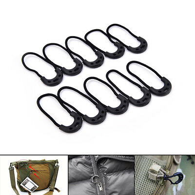 10pc EDC Black Zip Zipper Pulls Cord Rope For Outdoor Travel Clothing BackpackFF