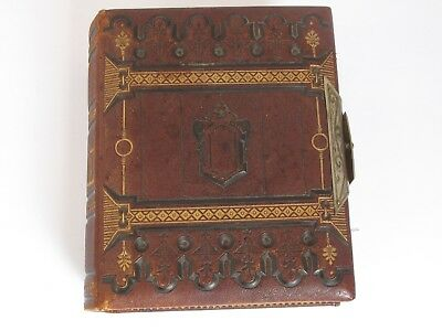 Antique Victorian Leather Bound Embossed Photo Album from Manchester Vt.