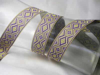 """/'Hearts Abound/' Jacquard Ribbon x 1 yd in Red,Brown Aqua /& Purple 33mm 1.5//16/"""""""