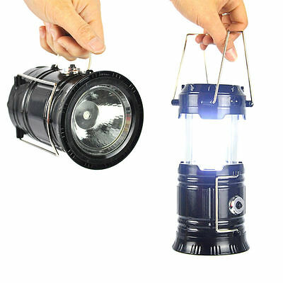 2 in 1 6+1 LED Rechargeable Flashlight Solar Powered Camping Portable Lantern