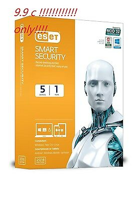Eset NOD32 smart security 2017 (New version 10 key only) 1 PC 1 year updates