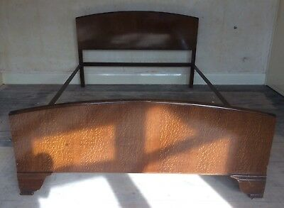 Vintage 1950's Lebus wooden double 4ft 6in bed frame with metal side supports.