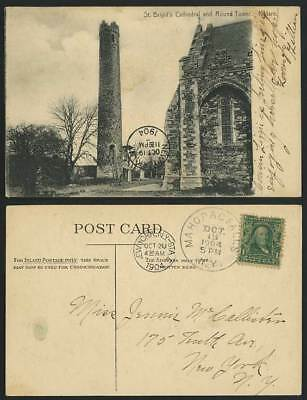 KILDARE ST BRIGID'S CATHEDRAL Round Tower 1904 Postcard