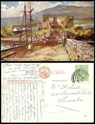 Ireland Co Louth King John's Castle Carlingford L.&N.W. Perfin 1910 Old Postcard