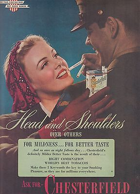 1944 Vintage Chesterfield Cigarette Ad  Head and Shoulders over Others