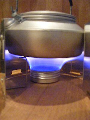 Spill proof ultralight meths (alcohol) burner for backpacking or camping stove