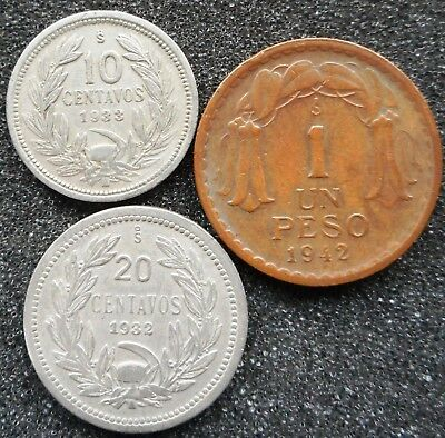 CHILE - 3 Coins - 1 Peso + 10 & 20 Centavos (mixed dates) ... (5981)