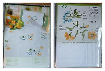 RICO Pre-drawn Floral TABLECLOTH EMBROIDERY KIT 100% cotton 31 x 31 ins GIFT