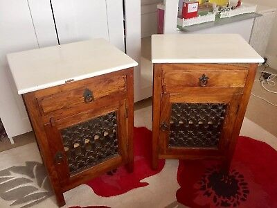 Bedside Cabinets Pair Antique Style