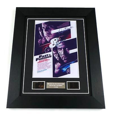 FAST AND THE FURIOUS Film Cells + Signed PREPRINT Framed PAUL WALKER MEMORABILIA
