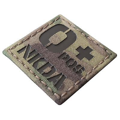 NKDA OPOS Blood Type O+ infrared IR multicam 2x2 laser cut hook&loop patch