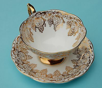 Royal Standard Fine Bone China Golden Grapevine Teacup and Saucer - 1950's