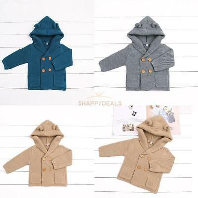 Boys Girls Knitted Cardigan Winter Toddler Sweaters Tops Long Sleeve Hooded Coat