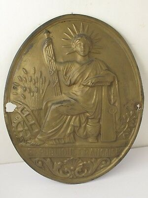 Antique  French Brass Oval Notary Plaque  Embossed Liberty République Francaise