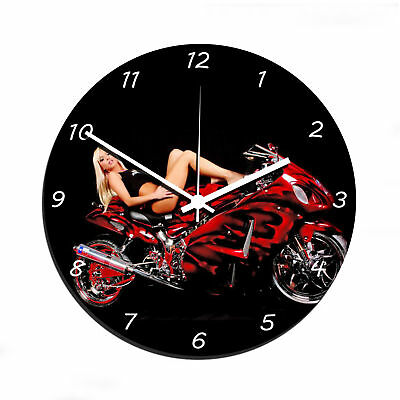 Horloge murale Moto Femme Sexy Pose Pin Up Course Sport Freestyle Freeride Swag