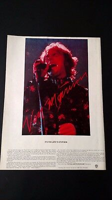 "Van Morrison ""it's Too Late To Stop Now""  Rare Original Print Promo Poster Ad"