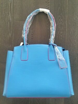 New Lodis Audrey Under Lock & Key Zola Tote Blue with Pink Trim