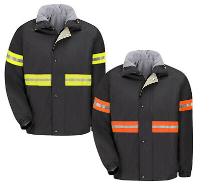Reflective Red Kap Men's Work Jacket (Black) & Vest Reversible Zip IN/OUT JN30Bk