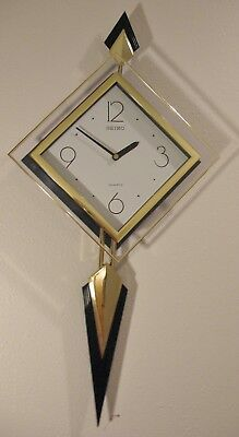 Vintage Retro '80s SEIKO CLOCK ~ QXC007KR Quartz NOS NIB with Pendulum COOL!