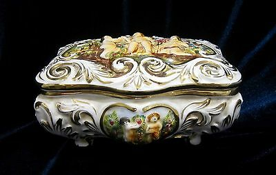 Vintage R Capodimonte GB Jewellery or Cigarette Footed Box - Italy - 7 in. long